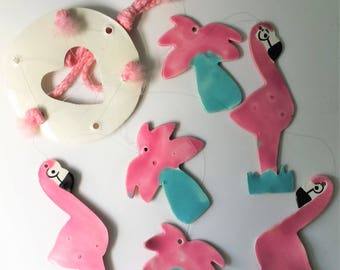 Vintage Pink Flamingo and Palm Tree Wind Chime Ceramic Flamingo Collectible Pink Flamingo Mobile