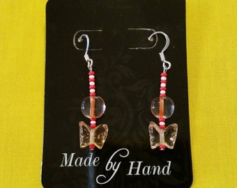 "GLASS BUTTERFLYEARRINGS - Red and White w/ Circle and Butterfly Shaped Glass Beards on Sterling Silver Clad Fish Hook Wire - 1.25"" Long"