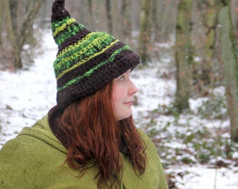 Pixie hat, elf hat, gnome hat, fairy accessory, fairy clothing, witch hat, pointy hat, halloween hat. Bright green, black, fantasy, crochet