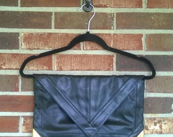 1960s Lou Taylor Large Black Leather Clutch, Made in Italy