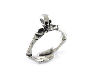 Human Skull and Skeleton Arms Ring, Hand Cast Jewelry