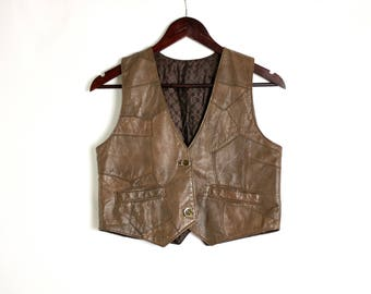 Vintage 90's Brown Leather Patchwork Fitted Crop Vest Waistcoat. Leather Top