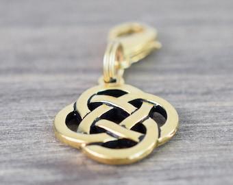 Celtic Round Knot Charm - Collar Charm - Dog Collar Charm - Cat Collar Charm - Bridle Charm - Gold