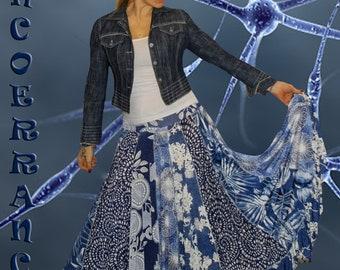 JUpon en maille stretch , jupe boho , bohème , ethnique , jupon patchwork  '  Denim ' Style...'
