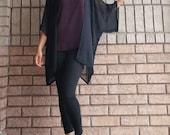 Black Kimono, Loose Coverup, Boho Kimono, Black Duster, Chiffon Kimono, Kimono Cardigan, Christmas Gift, Women's Fashion