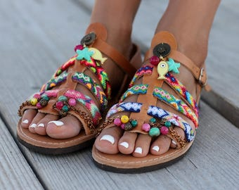 """Women's Shoes, Leather Sandals, Gladiator Leather Sandals, """"Pisaster"""" sandals"""