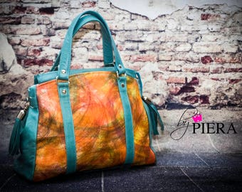 multi color leather bag, orange leather bag, teal handbag, orange satchel, leather bag, leather handbag