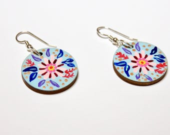Mermaid Blooms Hand Painted Wood Earrings