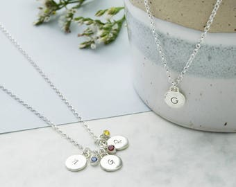 Sterling Silver Mini Disc Initial Charm Necklace | Handmade Silver Disc Necklace | Hand-stamped Birthstone Initial Necklace | Gifts for Her