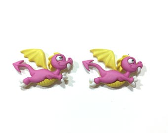 Dragon Buttons Jesse James Buttons Dragon Tale Dress It Up Buttons Set of 2 Shank Back PINK - 181