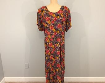Plus Size 26 Dress Floral Print Long Maxi Dress Short Sleeve Womens Dresses Purple Red Scoop Neck Size 3X Size 26 Womens Plus Size Clothing