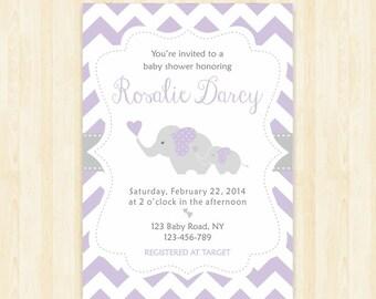 lavender baby shower elephant invitation lavender invitation elephant girl invitation lilac baby shower invite lavender invite 244