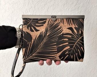 Wallet, Cork Wallet, Metal Clasp Wallet, Slim Wallet, Clutch Wallet, Frame Wallet in Tropical Leaf Print Cork
