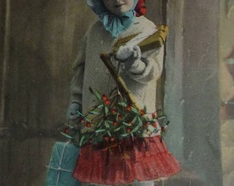 ON SALE till 7/28 Adorable Little Girl With Gifts Antique Christmas Postcard