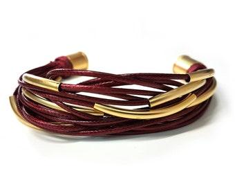 Leather Bracelet, Warp Bracelet, Boho Bracelet, Layered Bracelet, Multi Strand Bracelet, Women Leather Bracelet, Bracelet for Women, For Her