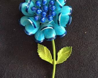 JJ Blue Floral Brooch