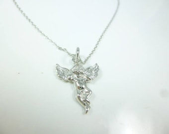 Sterling silver Cherub Necklace, Angel necklace
