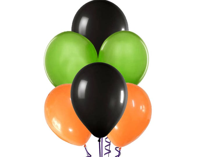 "Halloween Balloon Spray, Orange Green and Black Balloons, 12"" Halloween Balloons, Halloween Party, Halloween Party Decorations"