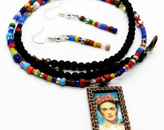 Frida Kahlo Jewelry Set, Necklace, Earrings, African Glass, Black Onyx Stone, Frida Kahlo Jewelry, Mexican Jewelry, Copper Pendant, Colored