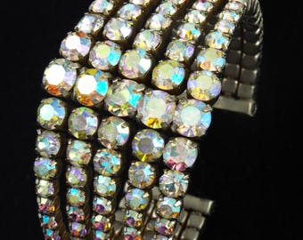 1950s - Beautiful Vintage Aurora Borealis Rhinestones Cuff Bracelet