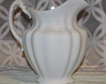 Antique White IronStone Pitcher Meakin and Hanley Large Ironstone Pitcher HUGE SALE Farmhouse/ Large white pitcher