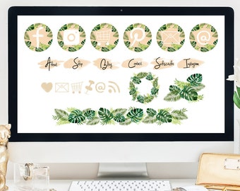 NEW! Blog Kit / 21 Buttons + Icons / Botanical Green Edition