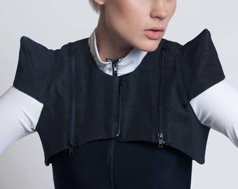 CARBON-14 SHRUG - Black Rubber Textured Pointy Shoulders Zippers Futuristic Modern Cyber EDM Rave Geometric Nu Goth Fashion Festival Ninja