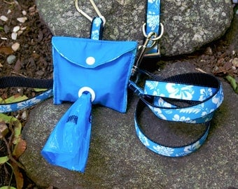 Hawaiian Flower Dog Collar and Leash set with Poop Baggy Holder