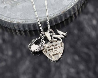 Memorial Necklace, a piece of my heart is in heaven, remembrance gift, bereavement jewelry, winged heart charm, initial charm