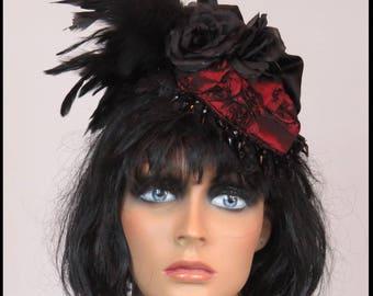 Gothic Fascinator BLACK ROSE FASCINATOR Feathers  Burgundy Roses