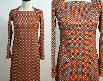 90s Body Con Dress / 1990s Wiggle Dress / Geometric Print Dress / Small S / Medium M