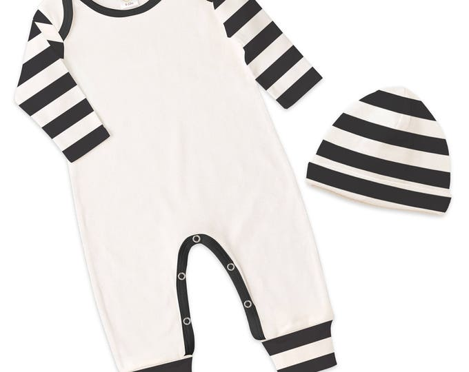 Newborn Baby Coming Home Outfit, Newborn Baby Black White Romper, Baby Come Home Outfit Neutral, Baby Unisex Hat, Black Stripe, TesaBabe