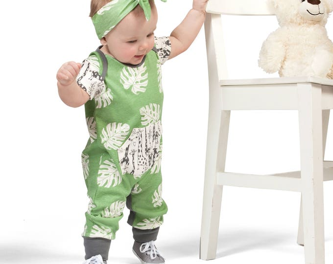 Newborn Baby Girl Onesie Outfit Summer, Baby Girl Green Pocket Romper, Infant Neutral Romper Green Leaves, Newborn Baby Tesa Babe