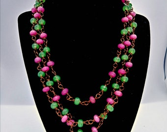 Jade Rosary Style Wrap necklace