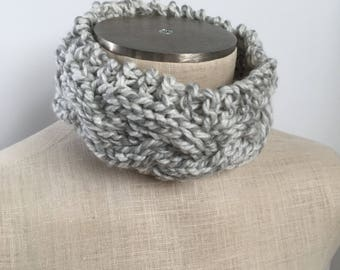 Knit Cable Headband - Chunky Ear Warmer - Braided Head Wrap - Grey Wide Ear Cover - Winter Womens Accessory
