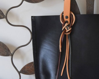 Leather Tote Bag, Full Grain Cow Hide Leather, Large Size, Rugged and Simple, Minor defect, Sample Sale, Made in USA.