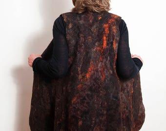 "Felted Vest ""Eruption"", Felted Waistcoat, Wool  Women Vest, Winter Jacket, Wet Felted Vest, Fiber Art, Wool Curls Vest, Natural Wool Vest"