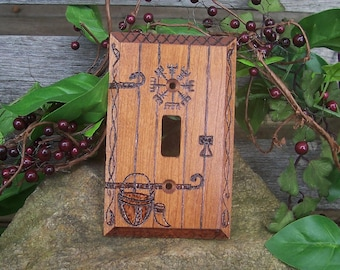 Viking Fairy Door Light Switch Plate Cover - Castle Door Lightswitch Plate - Vegvisir Viking Home Decor - Wood burned