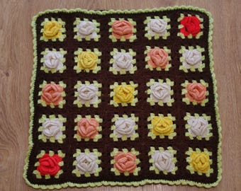 Hand knitted pillow cover wool cushion knitted pillow case Handmade Crocheted Flowers Brown Background Granny Square Hippie Pillowcase Cover