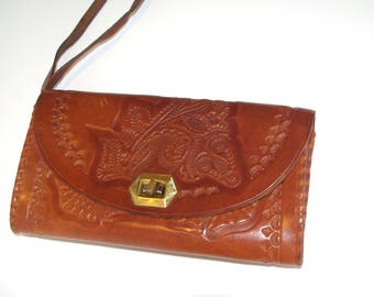 Polish Folk Leather BAG handbag Purse Hand Tooled Leather BAG Vintage Bag Flowers Boho Purse Hippie bag retro bohemian gypsy boho chic