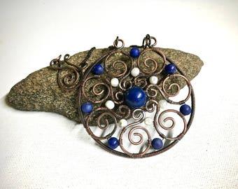 Copper Wire Wrapped Pendant