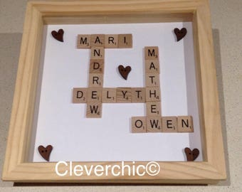 Scrabble Art Frame with Names in Deep wood box frame Scrabble Frame Friends frame & Scrabble box frame | Etsy Aboutintivar.Com
