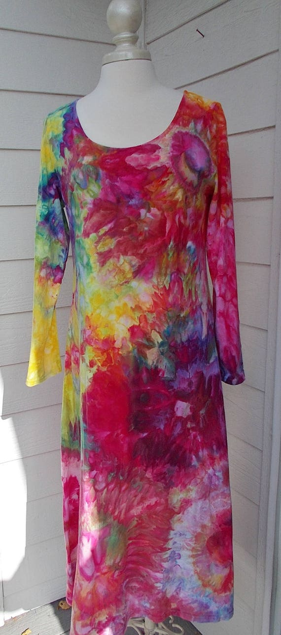 Large Ice dye tie dye Long Sleeve Cotton Dress