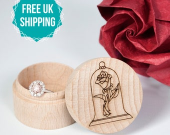 Wooden Ring Box Beauty and the Beast - Engraved Wedding Ring Box, Disney wedding, Disney proposal, Ring bearer box, FREE UK SHIPPING