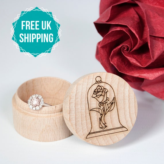 Wooden Ring Box Beauty and the Beast Engraved Wedding Ring