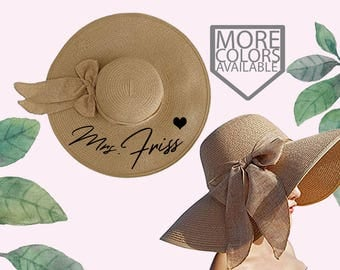 Mrs. Floppy Hat, Custom Floppy Hat, With Bow, Newly Engaged Gift, Mrs. Beach Hat, Honeymoon Beach Hat, Personalized, Personalized Bride Gift