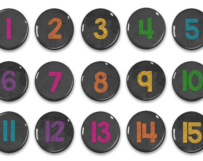 Colored Chalkboard Number Magnets - Calendar Magnats - Counting Practice - Early Math - Educational - Preschool Learning - Classroom Numbers