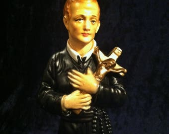 Rare Vintage Italian Chalkware Saint Gerard Majella Statue With Skull Patron Of Expectant Mothers, Mothers, and Children