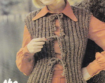 Womens sleeveless cardigan waistcoat jiffy jacket  vintage knitting pattern pdf INSTANT download pattern only pdf 1970s gilet