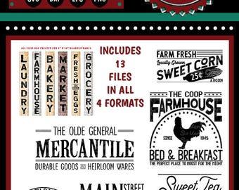 Vintage Farmhouse Sign Bundle | 13 Designs | Cutting Files | Printables  | svg | eps | png | dxf | Sweet Tea | Mercantile | Apothecary | B&B